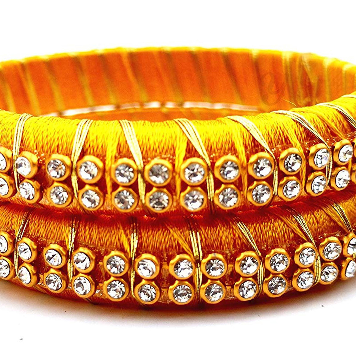 Graceful Yellow Colored Festive Wear Stone Work Resham Thread Bangles