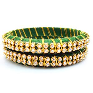 Lovely Dark Green Colored Festive Wear Stone Work Resham Thread Bangles