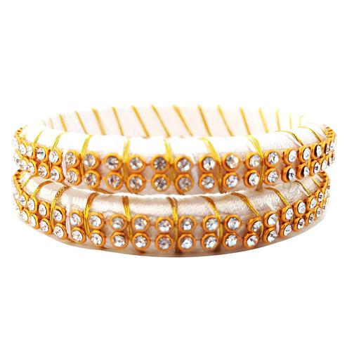 Pretty White Colored Festive Wear Stone Work Resham Thread Bangles