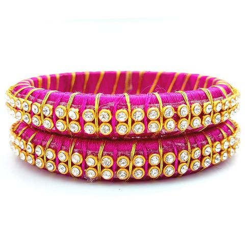 Charming Rani Pink Colored Festive Wear Stone Work Resham Thread Bangles
