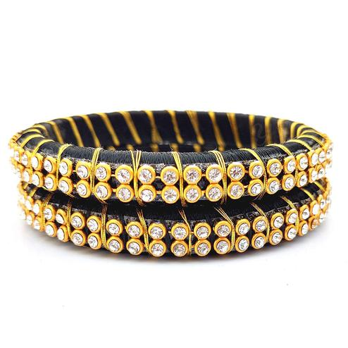Ravishing Black Colored Festive Wear Stone Work Resham Thread Bangles