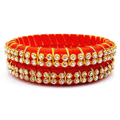 Delightful Dark Orange Colored Festive Wear Stone Work Resham Thread Bangles