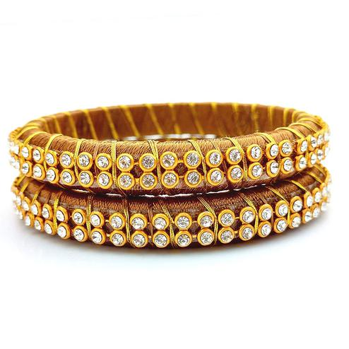 Stunning Beige Colored Festive Wear Stone Work Resham Thread Bangles