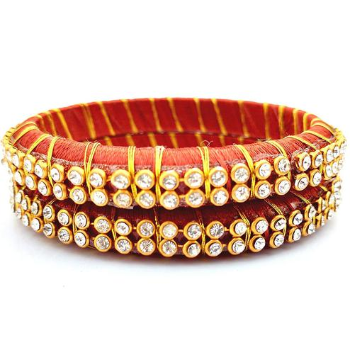 Blooming Rust Colored Festive Wear Stone Work Resham Thread Bangles