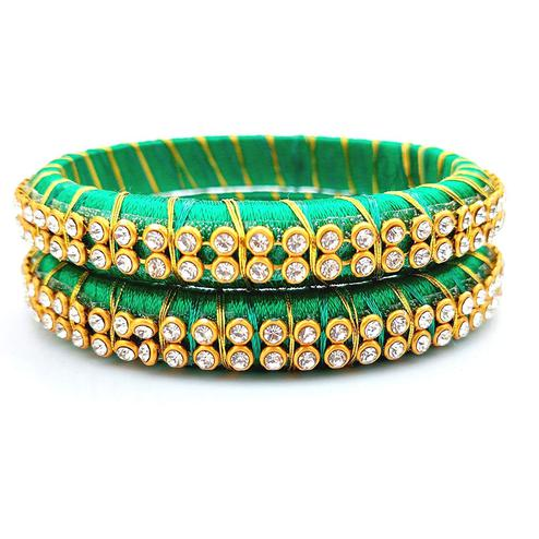 Ravishing Sea Green Colored Festive Wear Stone Work Resham Thread Bangles