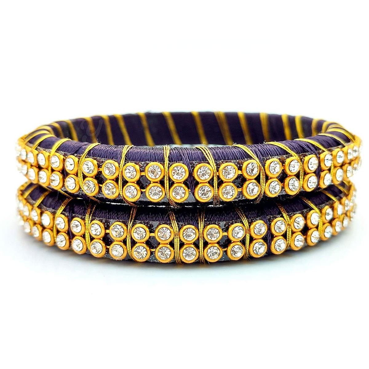 Eye-catching Violet Colored Festive Wear Stone Work Resham Thread Bangles