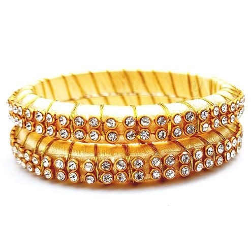 Amazing Cream Colored Festive Wear Stone Work Resham Thread Bangles