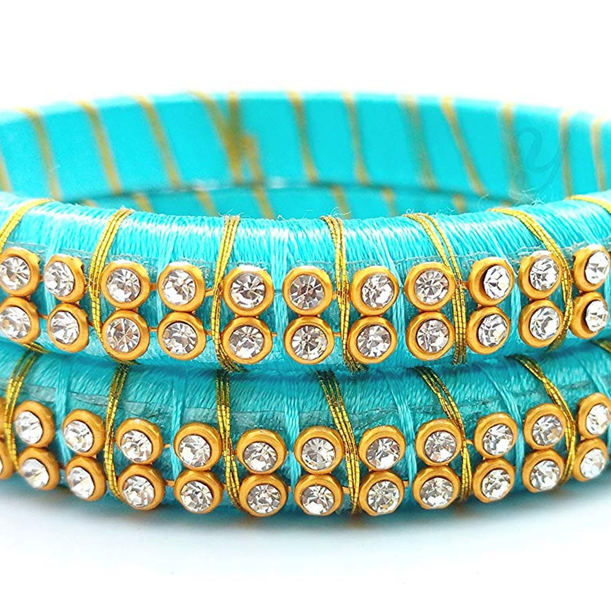 Exotic Sky Blue Colored Festive Wear Stone Work Resham Thread Bangles