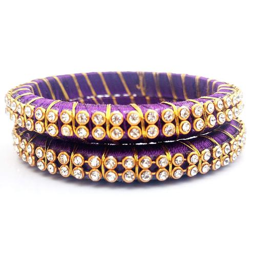 Majesty Purple Colored Festive Wear Stone Work Resham Thread Bangles
