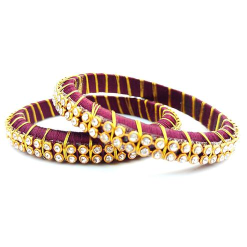Preferable Wine Colored Festive Wear Stone Work Resham Thread Bangles