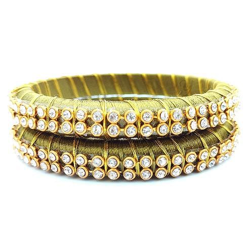 Attractive Olive Green Colored Festive Wear Stone Work Resham Thread Bangles
