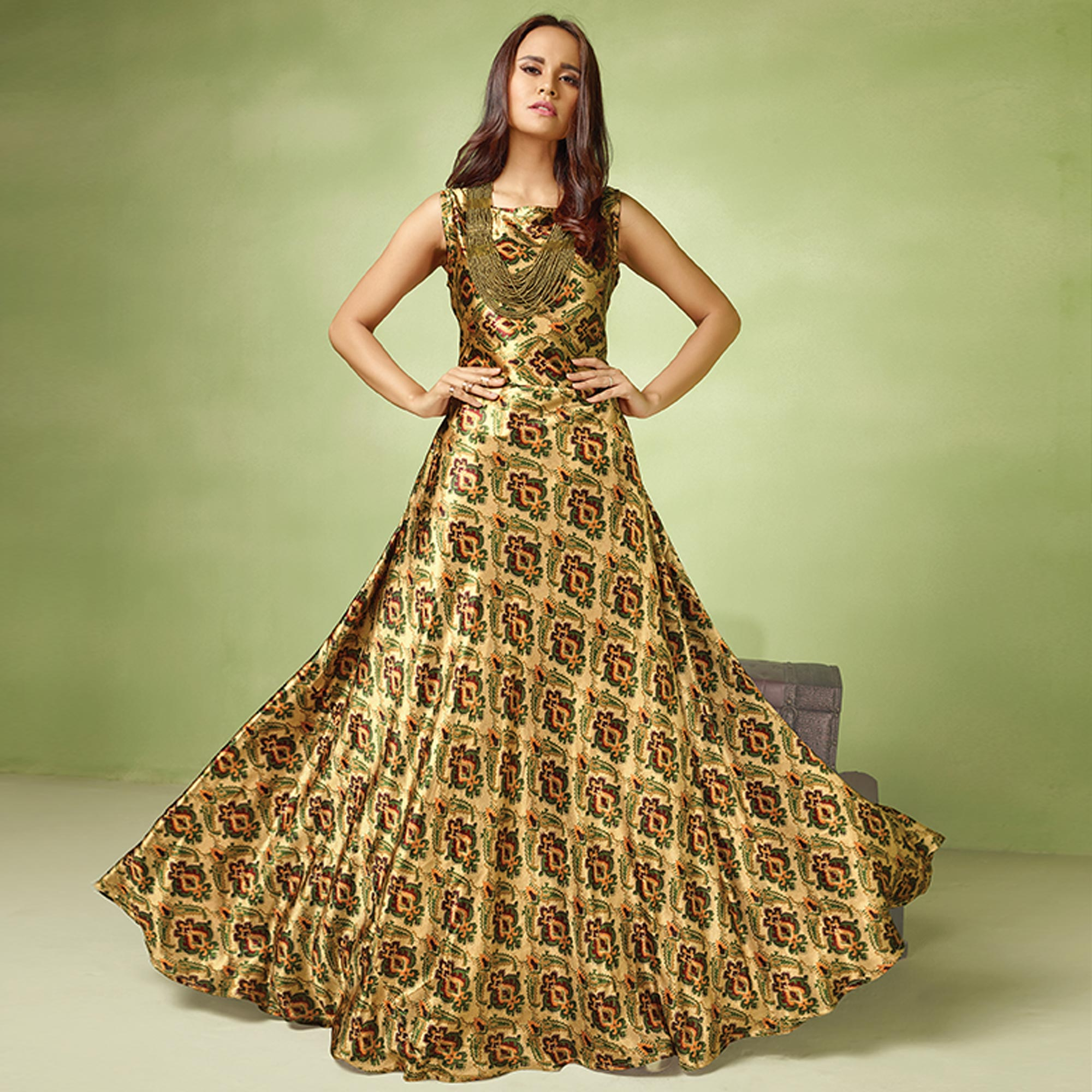 Classy Beige-Green Colored Partywear Printed Satin Gown With Embroidered Organza Top