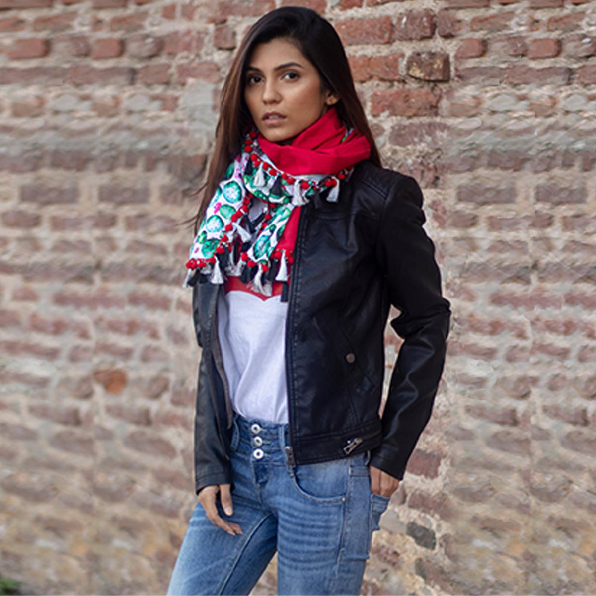 Prominent Red-Multi Colored Printed Khadi Cotton Stole