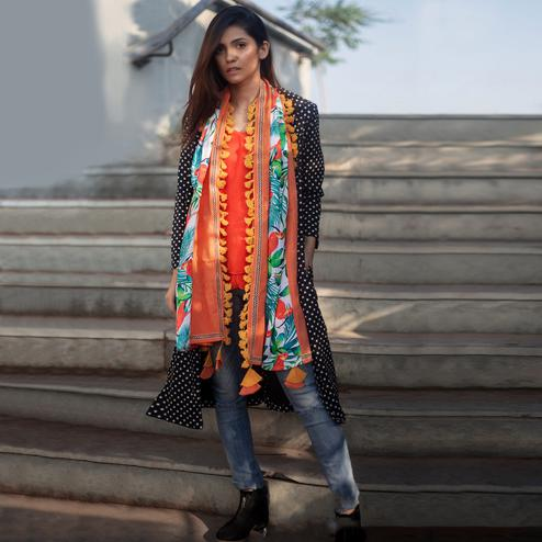 Adorning Orange-Multi Colored Printed Khadi Cotton Stole