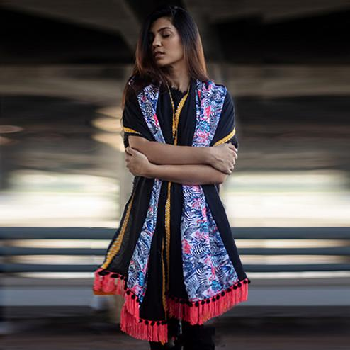 Opulent Black-Multi Colored Printed Khadi Cotton Stole