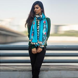 Flattering Sky Blue Colored Printed Khadi Cotton Stole