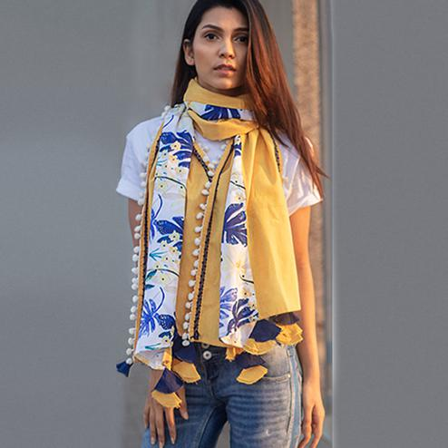 Innovative Yellow-White Colored Printed Khadi Cotton Stole