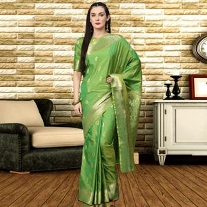 Ethnic Green Colored Festive Wear Woven Silk Saree