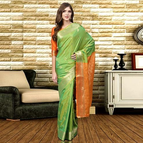 Mesmeric Green Colored Festive Wear Woven Silk Saree