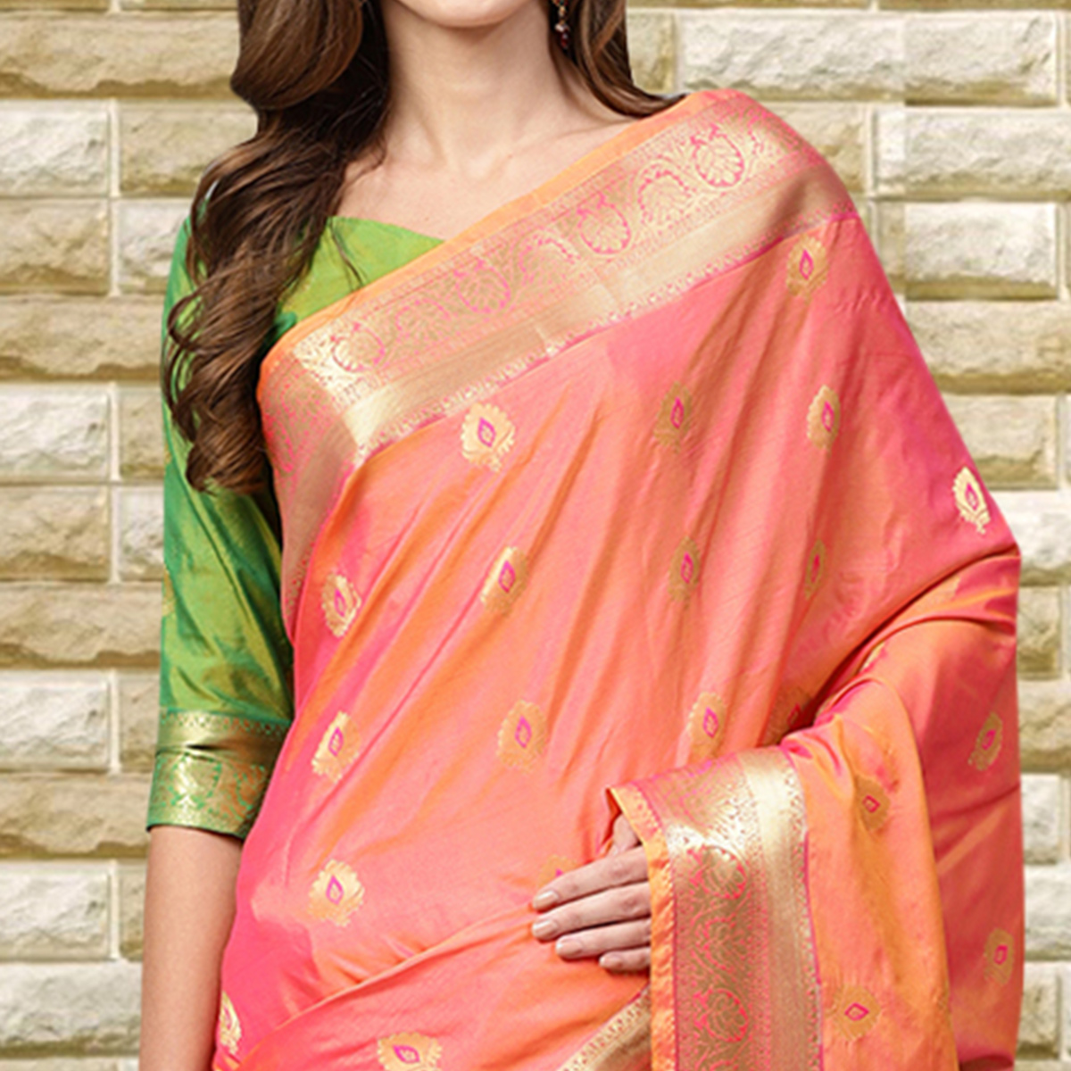 Flaunt Pink Colored Festive Wear Woven Silk Saree