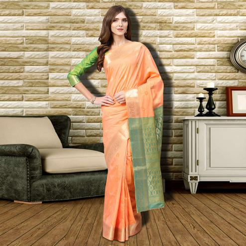 Flamboyant Peach Colored Festive Wear Woven Silk Saree