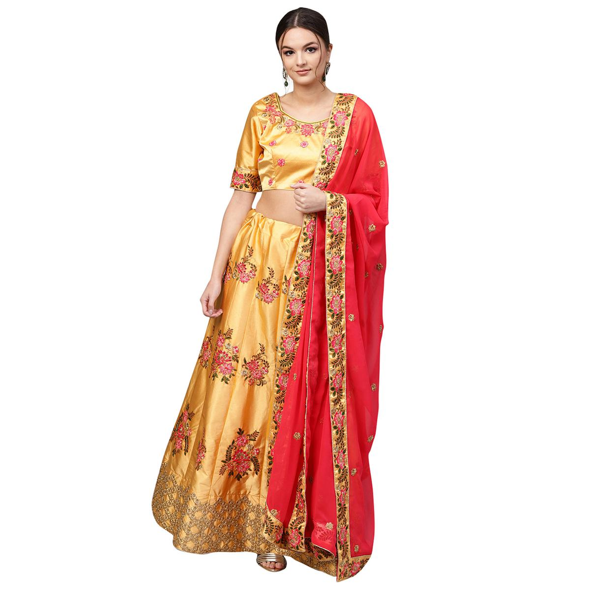 Marvellous Yellow Colored Partywear Embroidered Satin Lehenga Choli