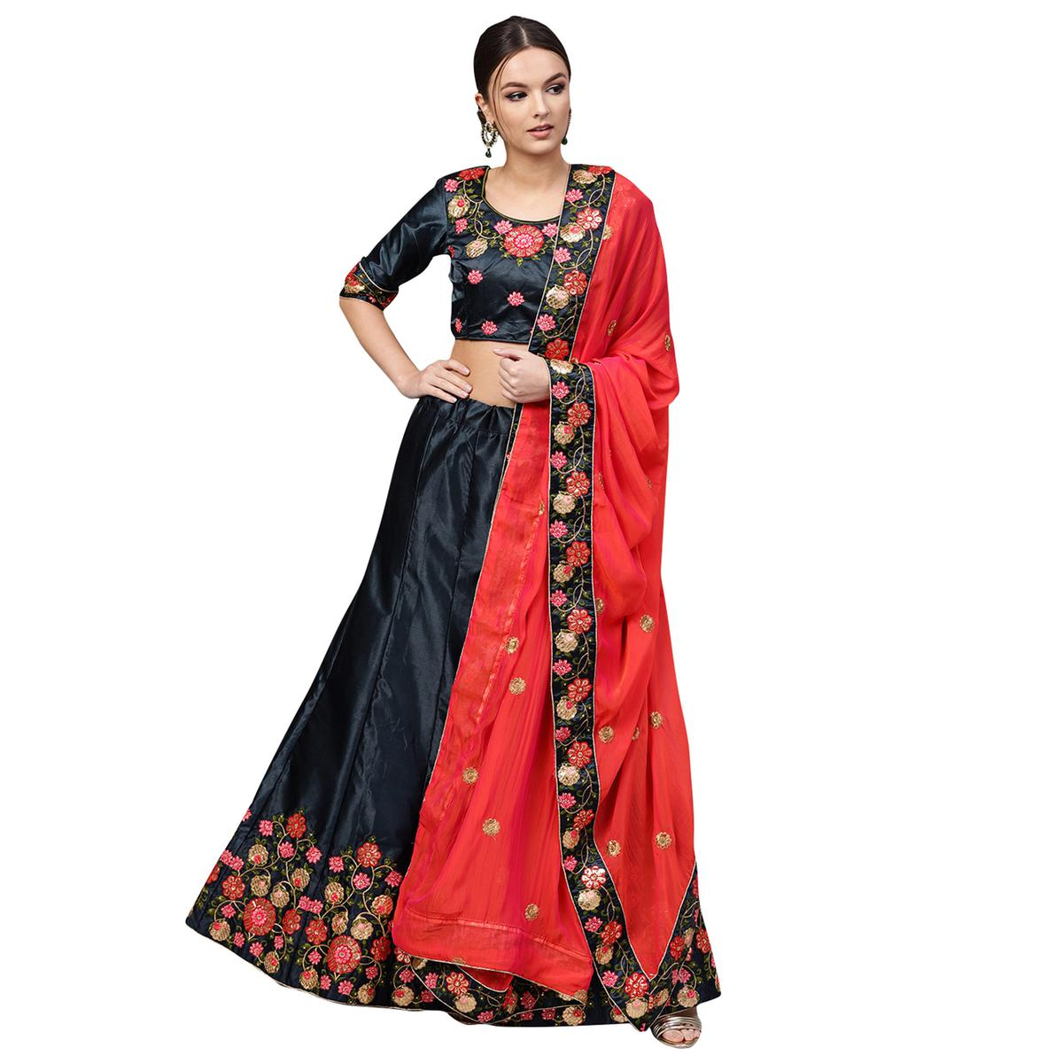 Eye-catching Navy Blue Colored Partywear Embroidered Satin Lehenga Choli