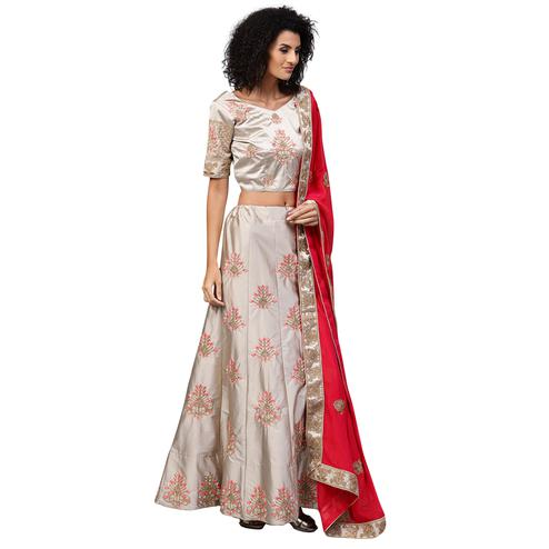 Amazing Light Gray Colored Partywear Embroidered Satin Lehenga Choli