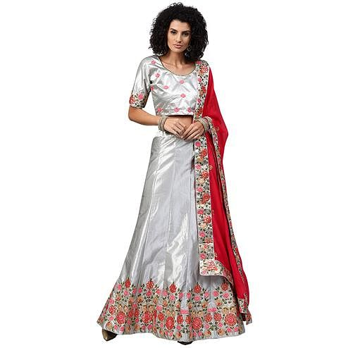 Majesty Light Gray Colored Partywear Embroidered Satin Lehenga Choli