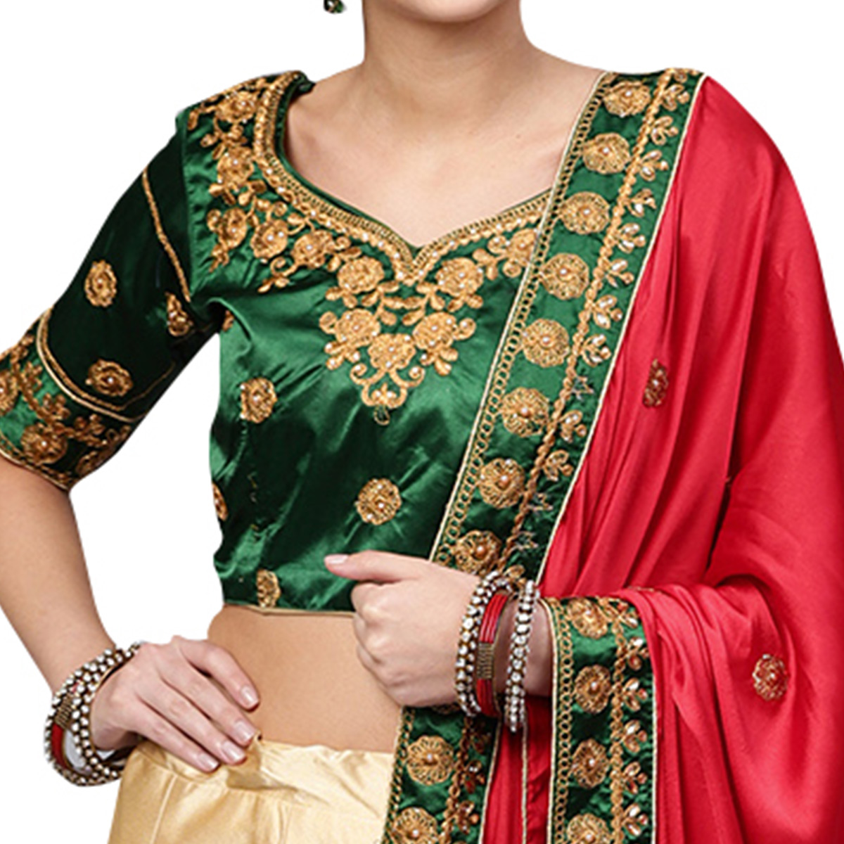 Preferable Green-Cream Colored Partywear Embroidered Satin Lehenga Choli