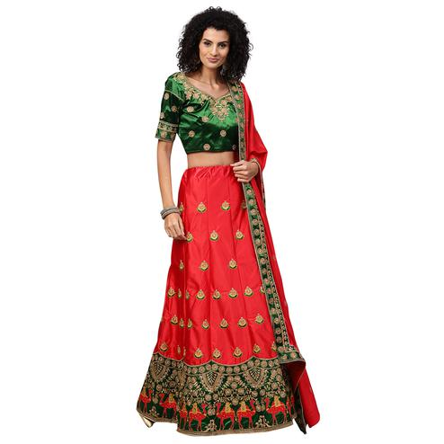 Attractive Green-Red Colored Partywear Embroidered Satin Lehenga Choli