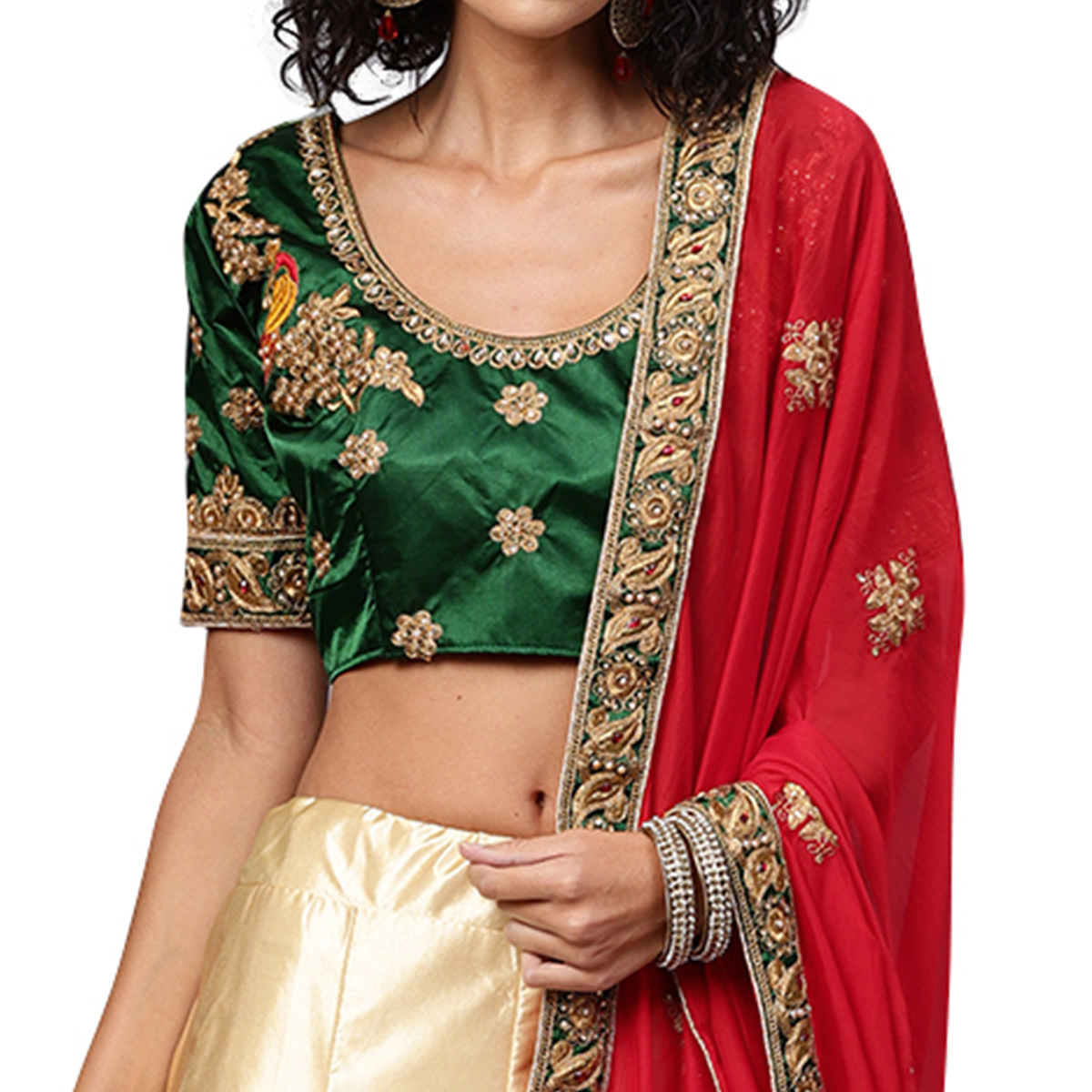 Engrossing Green-Cream Colored Partywear Embroidered Satin Lehenga Choli
