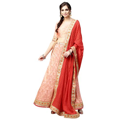 Sophisticated Peach Colored Wedding Wear Banarasi Silk Lehenga Choli