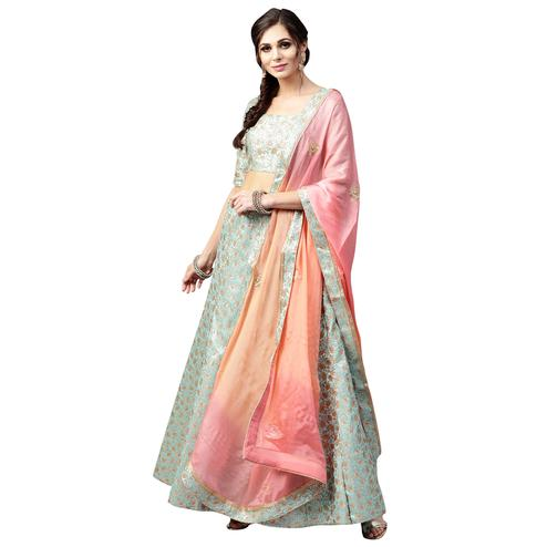 Demanding Aqua Blue Colored Wedding Wear Banarasi Silk Lehenga Choli
