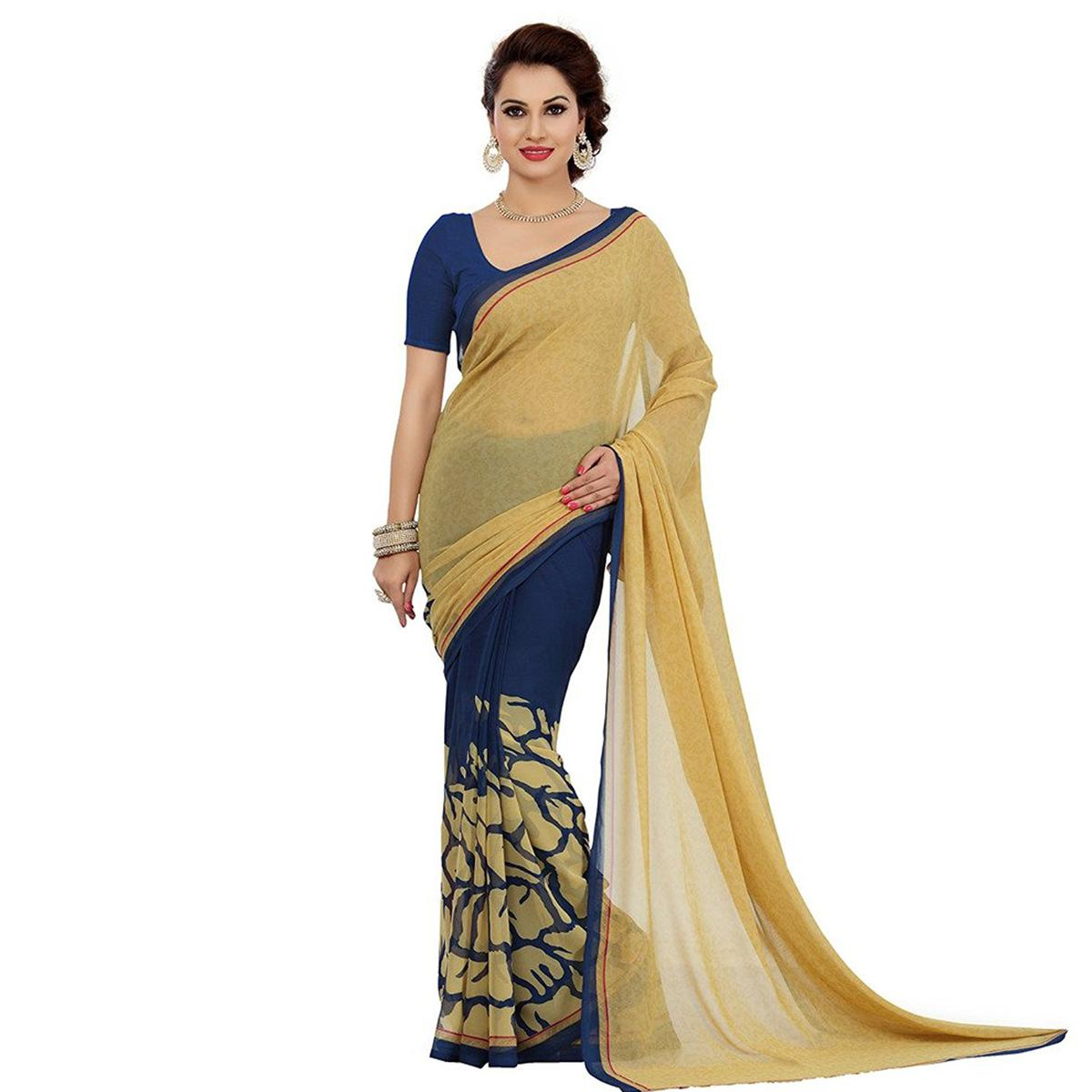 Beige - Navy Blue Half & Half Saree
