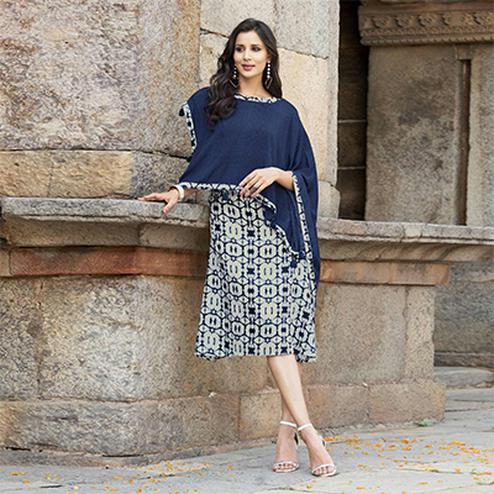Gorgeous Navy Blue Cape Style Printed Cotton Kurti
