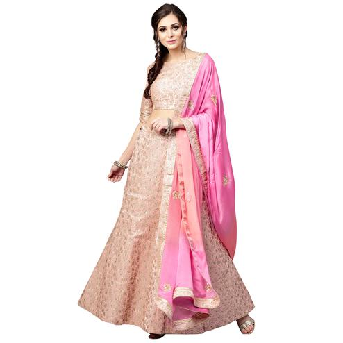 Pleasant Peach Colored Wedding Wear Banarasi Silk Lehenga Choli