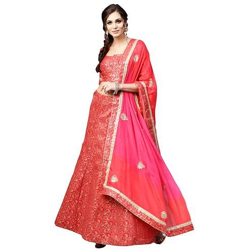 Unique Red Colored Wedding Wear Banarasi Silk Lehenga Choli