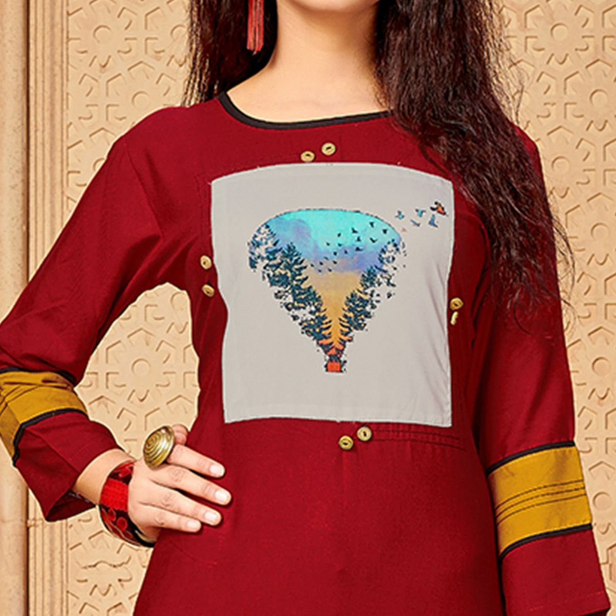 Intricate Maroon Colored Party Wear Printed Rayon - Cotton Kurti