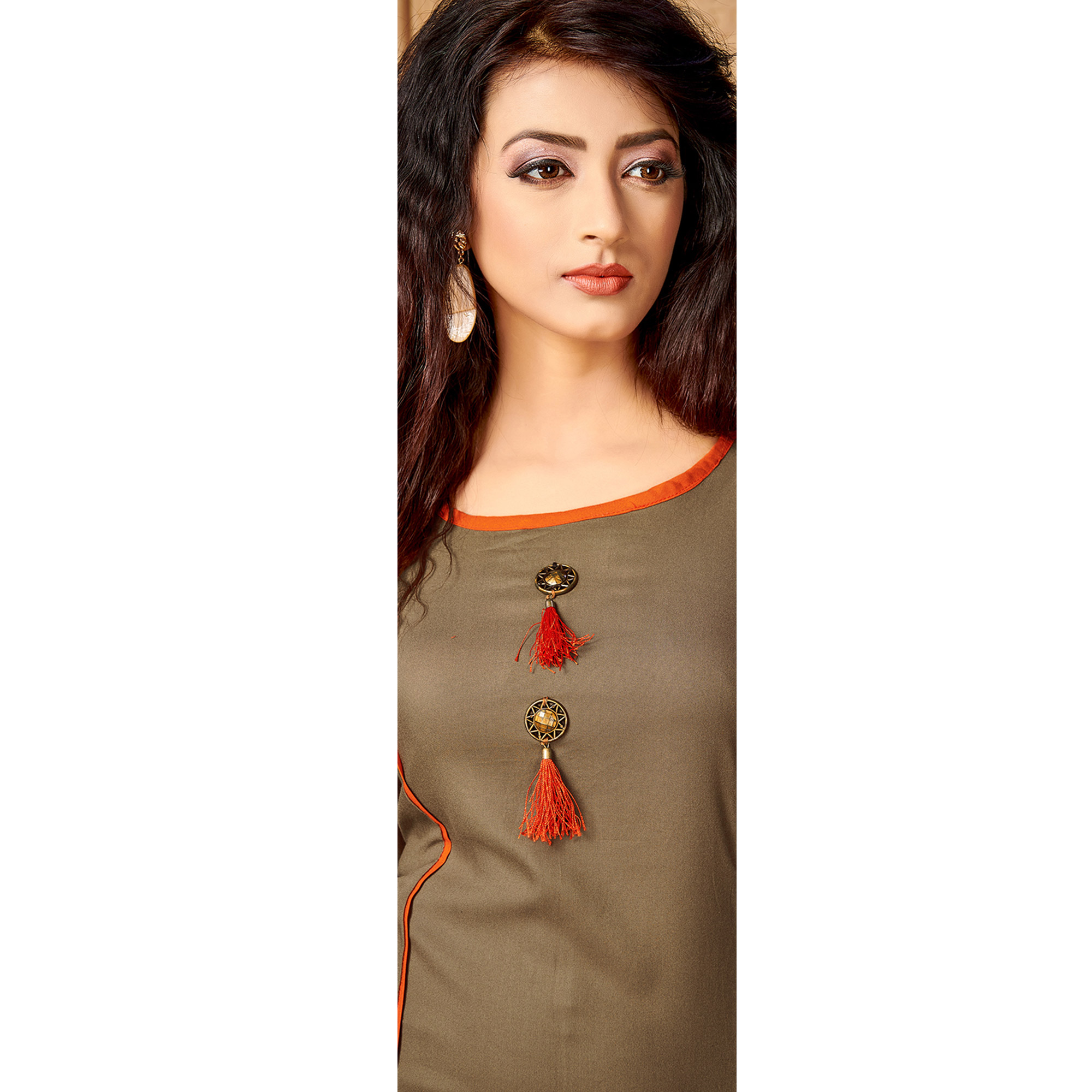 Adorable Light Brown Colored Party Wear Printed Rayon - Cotton Kurti