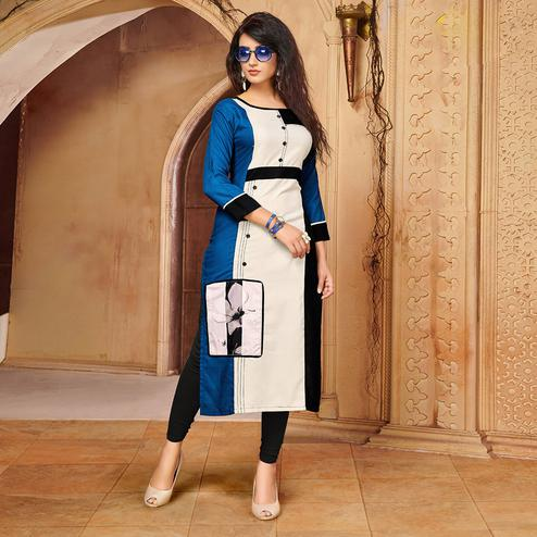 Attractive Blue - Off White Colored Party Wear Printed Rayon - Cotton Kurti