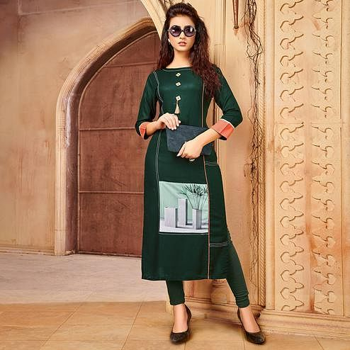 Gorgeous Dark Green Colored Party Wear Printed Rayon - Cotton Kurti