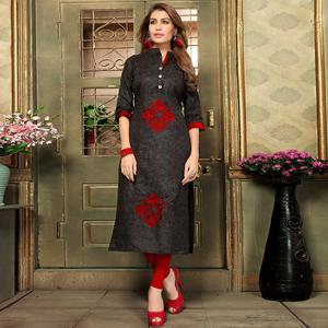 Hypnotic Black Colored Casual Printed Khadi Cotton Kurti