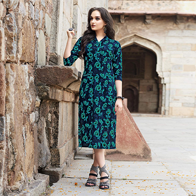 Beautiful Blue - Green Printed Cotton Kurti