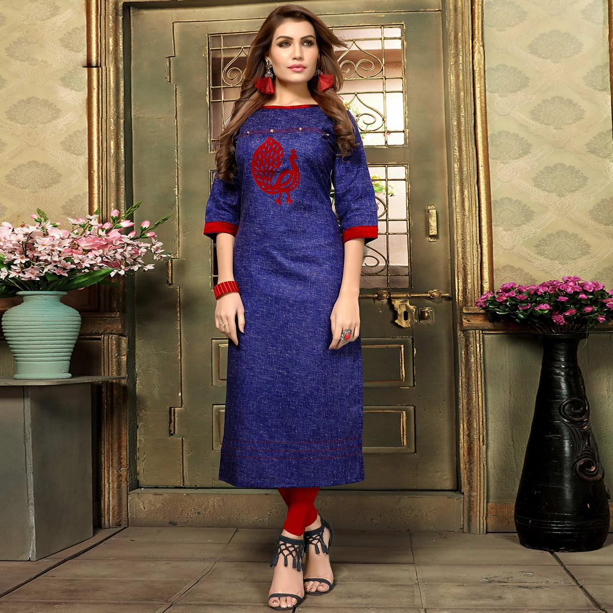 Trendy Blue Colored Casual Printed Khadi Cotton Kurti