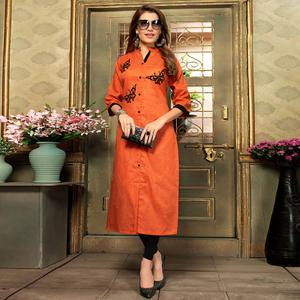 Magnetic Orange Colored Casual Printed Khadi Cotton Kurti