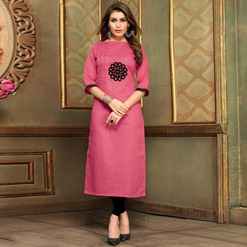 Energetic Pink Colored Casual Printed Khadi Cotton Kurti