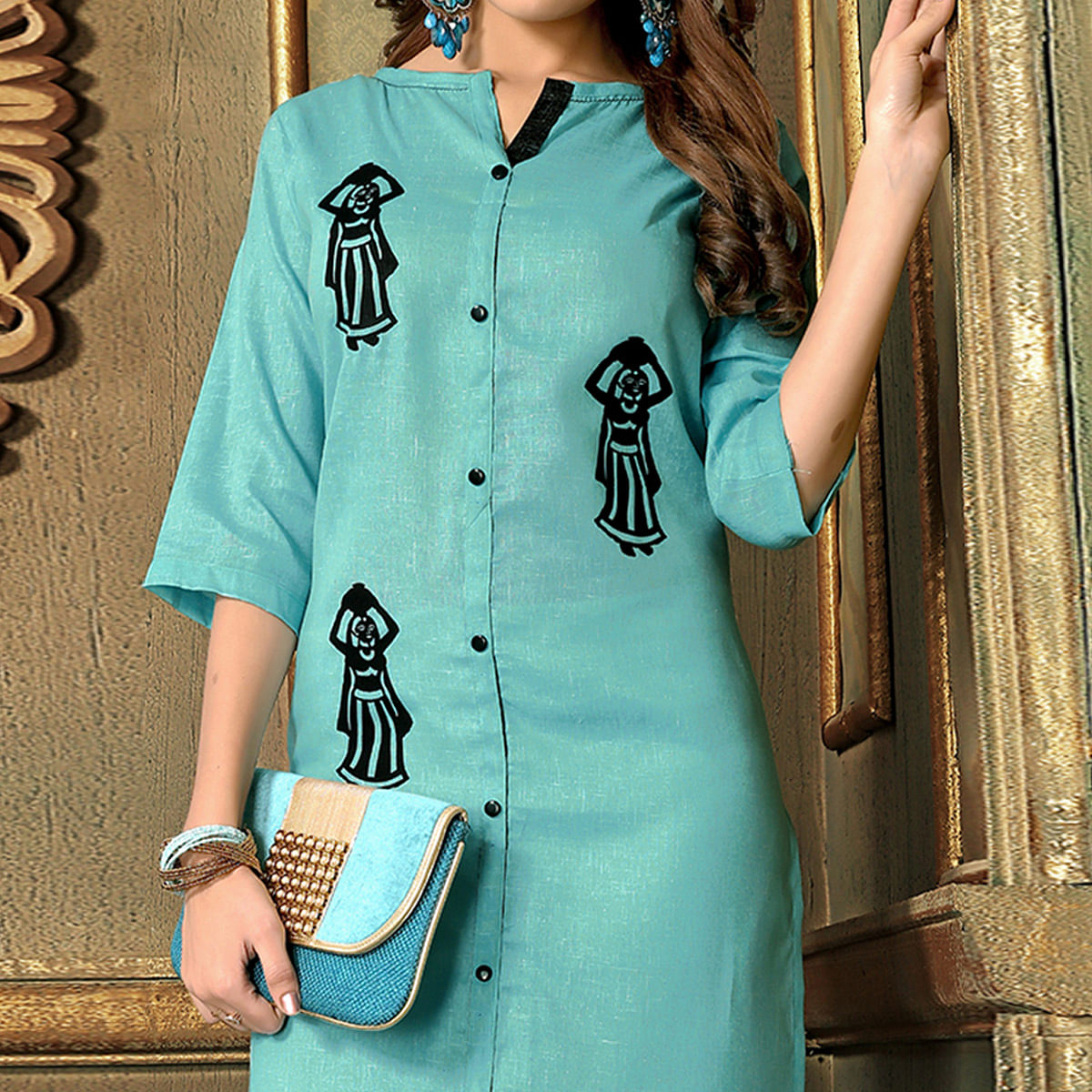 Mesmeric Light Cyan Colored Casual Printed Khadi Cotton Kurti