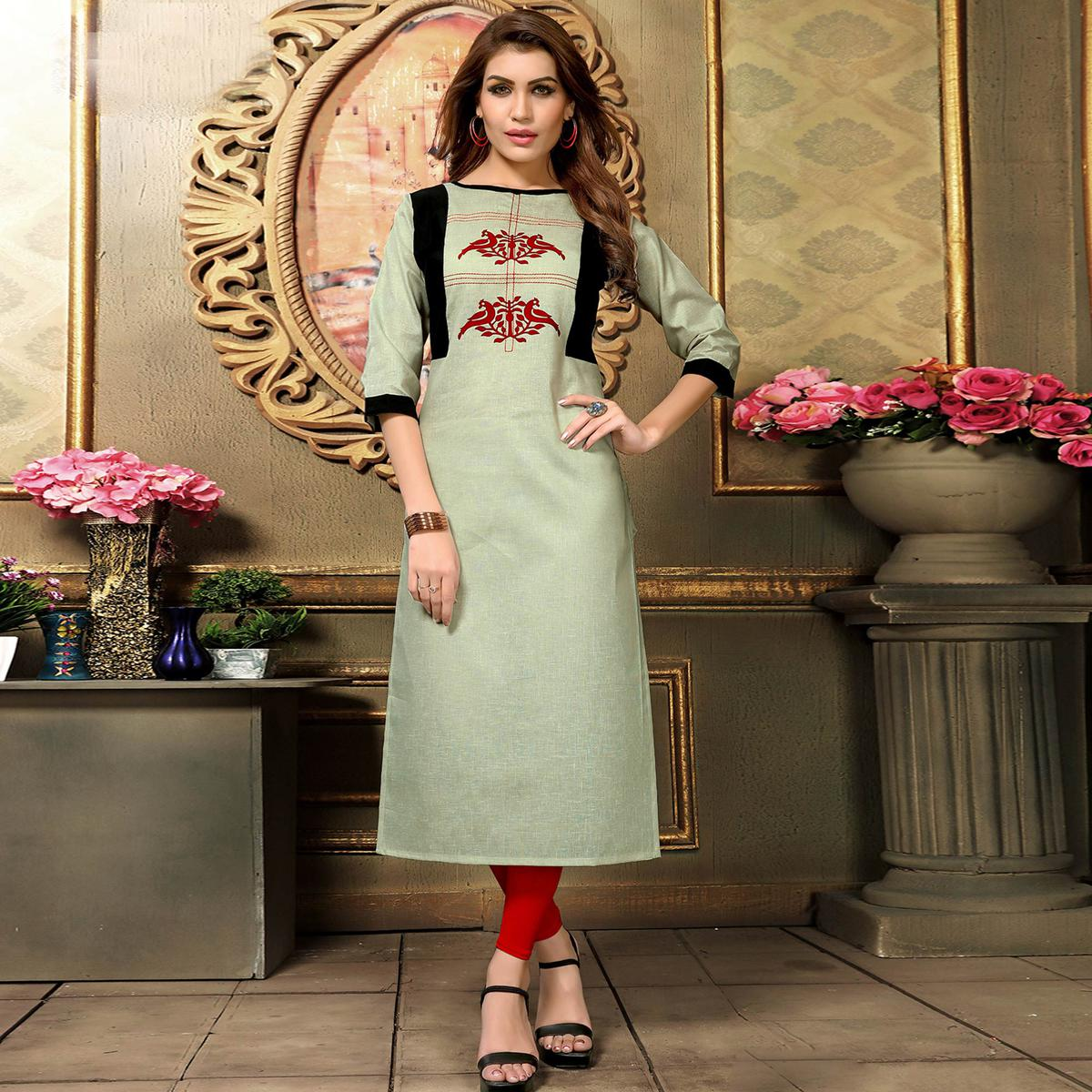 Flaunt Mint Colored Casual Printed Khadi Cotton Kurti