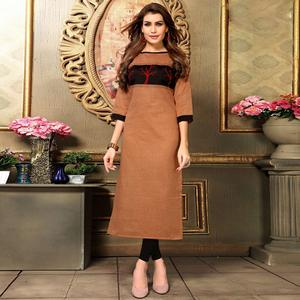 Flamboyant Bronze Colored Casual Printed Khadi Cotton Kurti